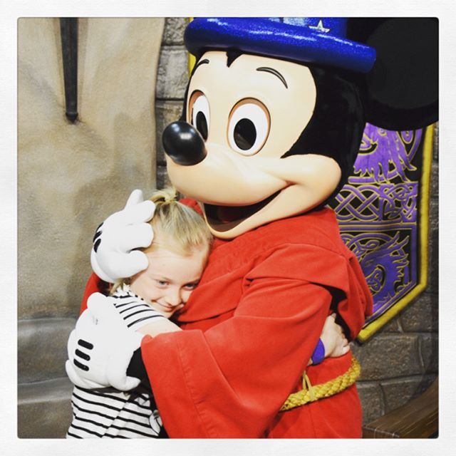 You're never too old for hugs from Mickey