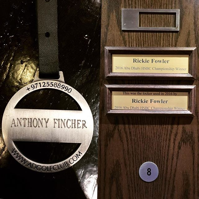 Nice touch from the golf club with engraved bag tag and also nice to be able to use Rickie Fowler's locker