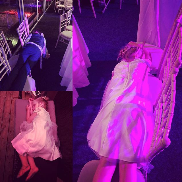 Standard behaviour for kids to put chairs together and fall asleep laying across them when at a wedding. Hard work being 2 gorgeous flower girls and the boy doing an awesome job of his reading